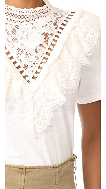 Sea Victorian Lace Neck Tee