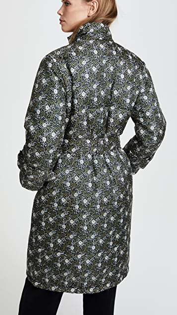 Sea Floral Printed Puffer Coat
