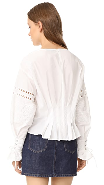 Sea Long Sleeve Eyelet Lace Up Blouse