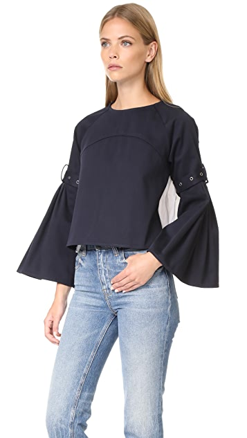 Sea Combo Pleated Top