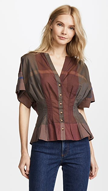 Sea Short Sleeve Pleated Blouse