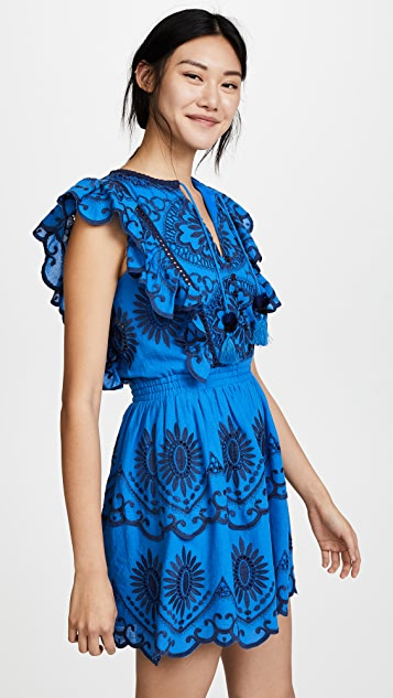 Sea Sleeveless Ruffle Dress