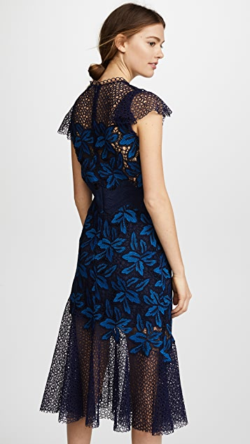 Sea Mosaic Lace Midi Dress