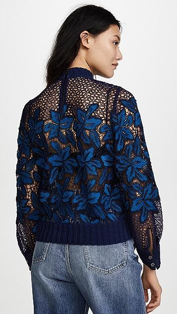 Sea Bell Sleeve Mosaic Lace Sweatshirt