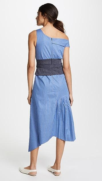 Sea Asymmetrical Belted Tank Dress