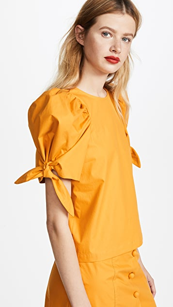 Sea Puff Sleeve Tie Top