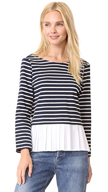 Sea Deep V Back Combo Tee - Navy/Cream