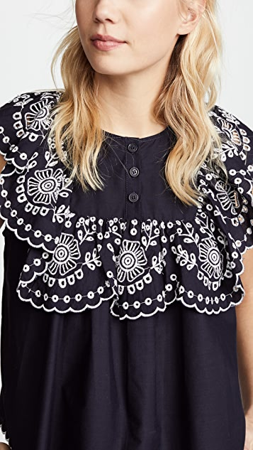 Sea Eyelet Bib Blouse