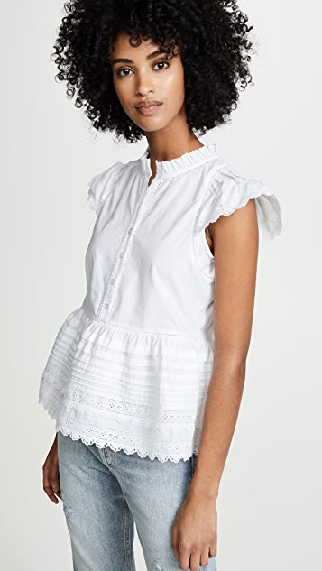 Sea Lilli Eyelet Flutter Top