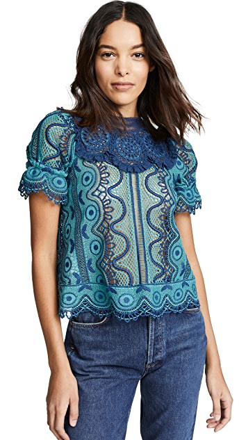 Sea Lola Lace Puff Sleeve Top