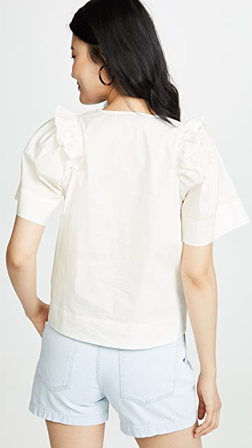 Sea Waverly Puff Sleeve Top