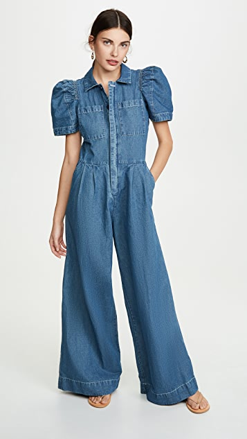 Piper Denim Short Sleeve Jumpsuit by Sea