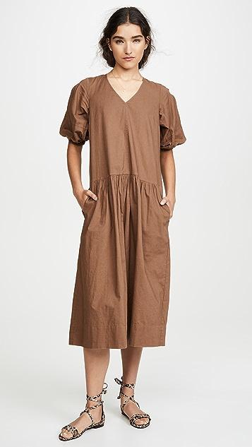 Sea Непринужденное миди-платье Rumi с короткими рукавами