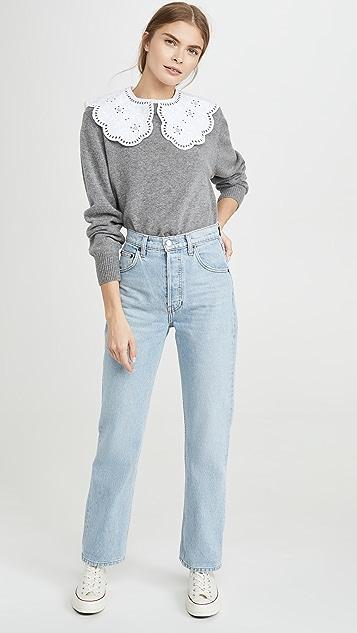 Sea Zippy Lace Collar Sweater
