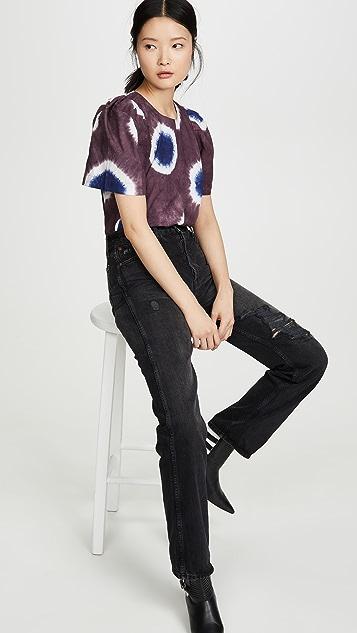 Sea Tie Dye Puff Sleeve Top