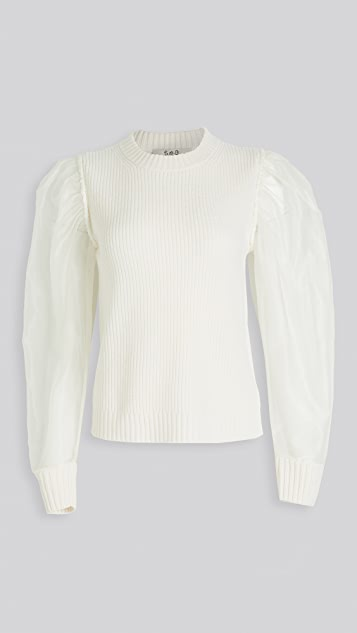 Sea James Organza Sleeve Knit Top