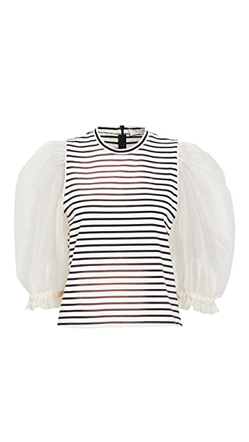 Sea James Organza Sleeve Tee qCl9y8bW