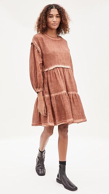 Sea Yara Puff Sleeve Midi Dress