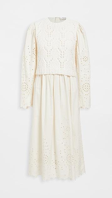 Sea Fern Eyelet Combo Sweater Dress