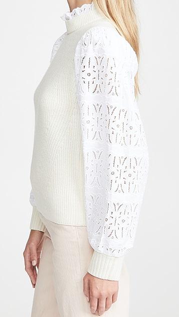 Sea Iris 棉质圆孔毛衣
