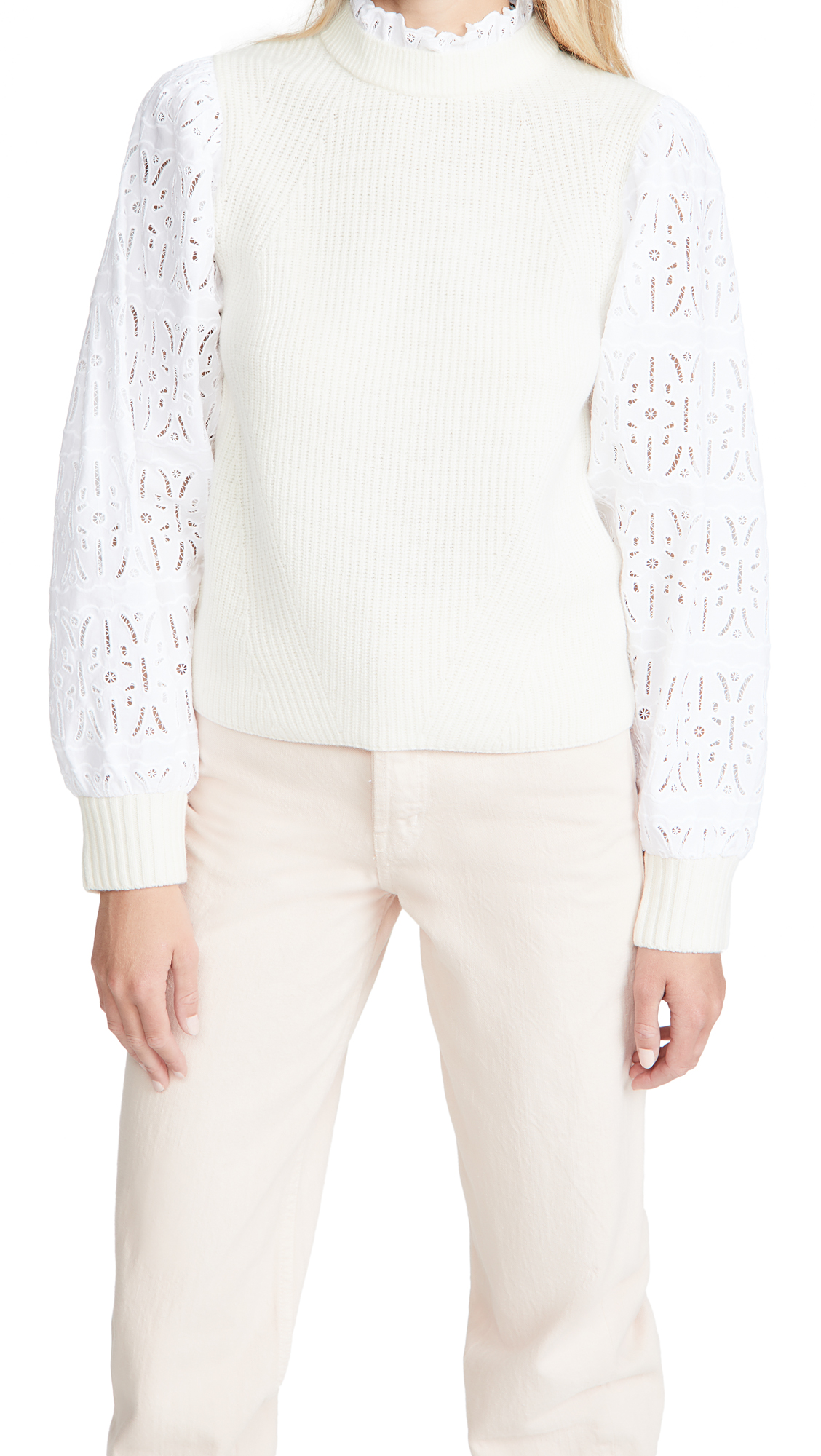 Sea Iris Cotton Eyelet Sweater