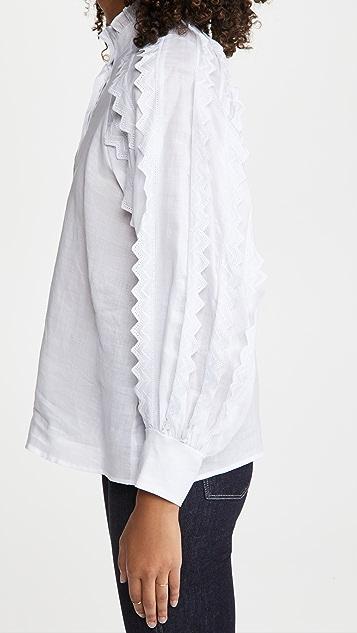 Sea Zigzag Ramie Long Sleeve Top