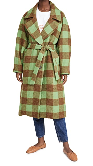 Sea Clement Check Wool Coat