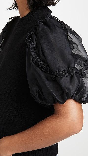 Sea Nuria 透明硬纱衣袖开司米羊绒毛衣