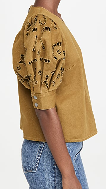 Sea Rue Embroidered Denim Short Sleeve Top