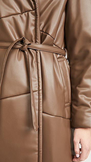 Sea Vegan Leather Waist Tie Coat