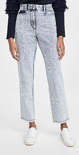 Sea - Betty 酸色水洗人造珍珠牛仔裤