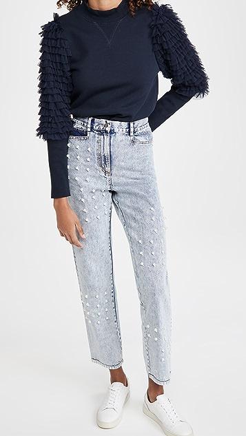 Sea Betty Acid Wash Faux Pearl Jeans