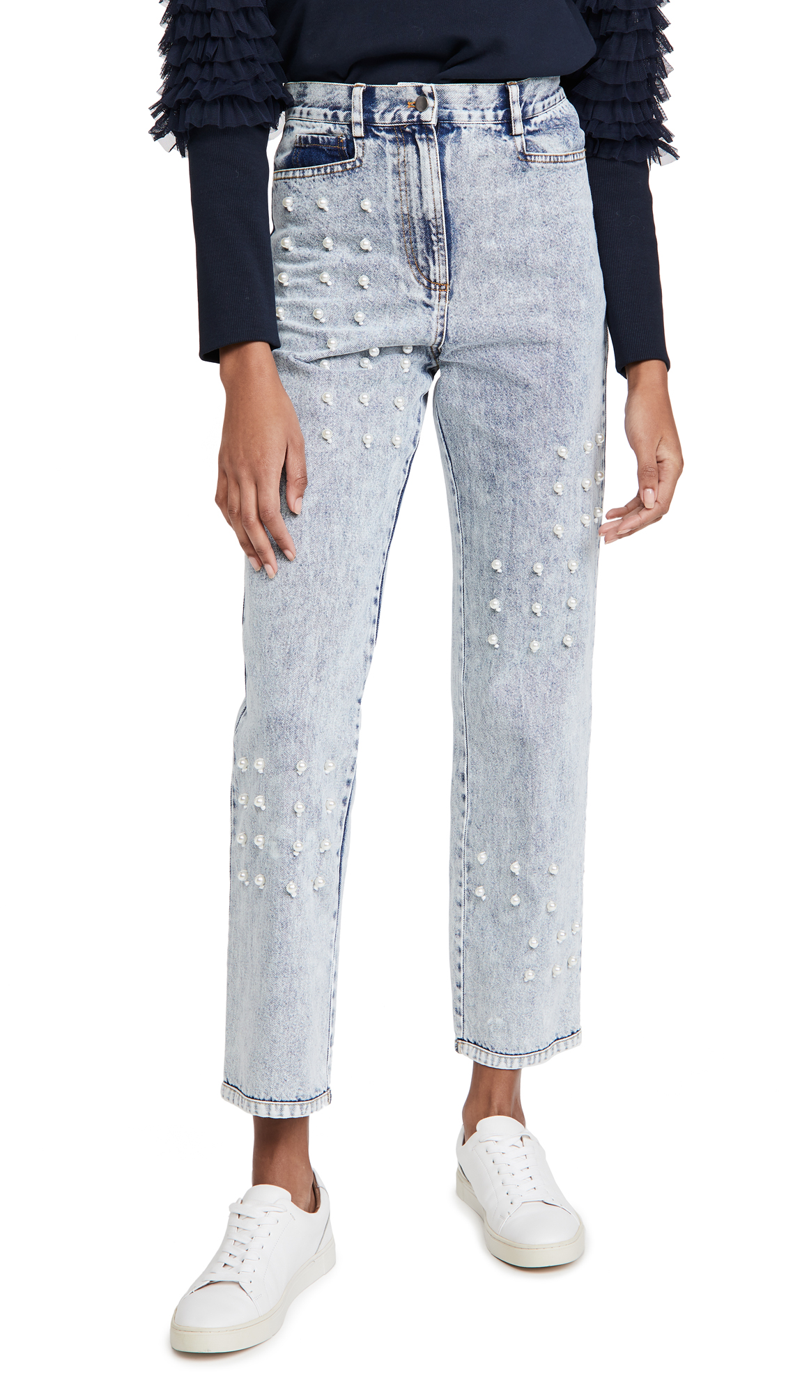 Sea Betty Acid Wash Faux Pearl Jeans