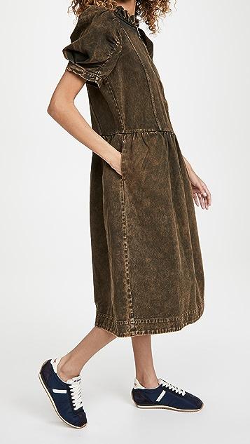 Sea Hildur Acid Wash Puff Sleeve Midi Dress