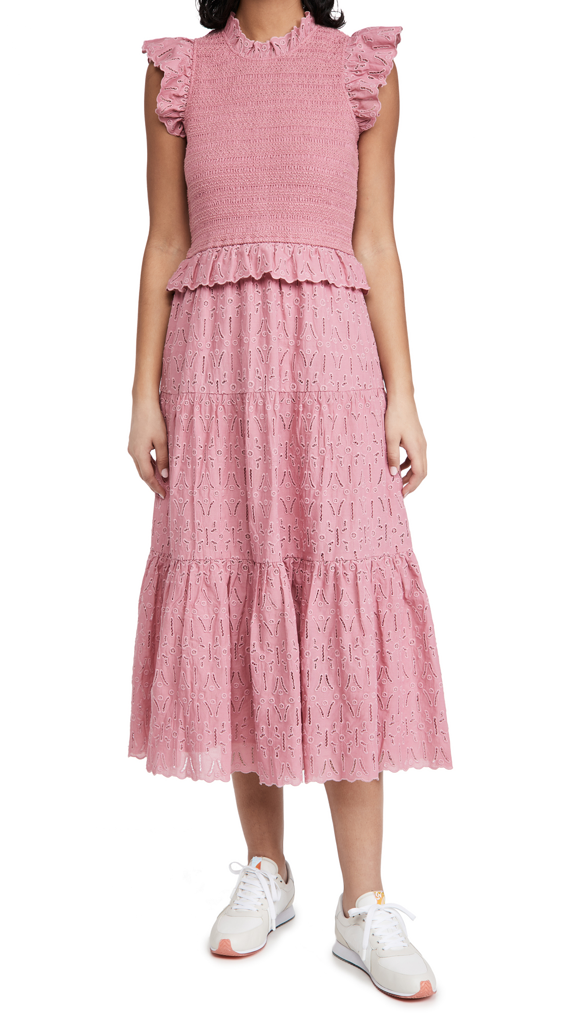 Sea Ingrid Smocked Midi Dress