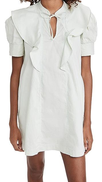 Sea Hildur Acid Wash Puff Sleeve Tunic Dress