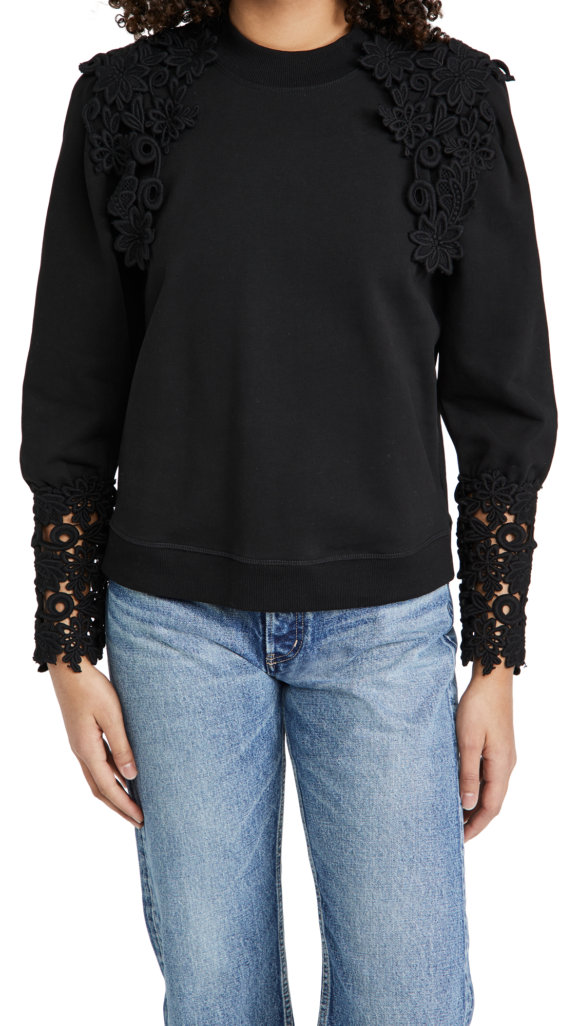 Sea Lace Applique Sweatshirt