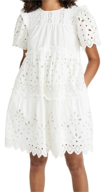 Sea Hazel Eyelet Tiered Dress