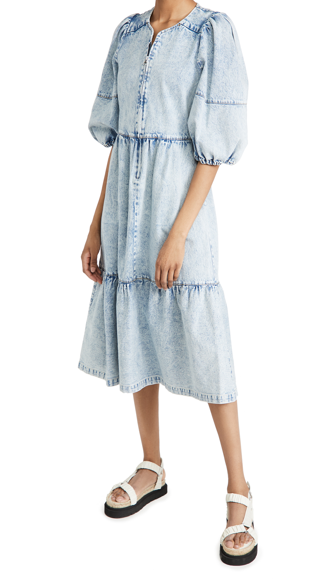 Sea Dax Acid Wash Denim Puff Sleeve Dress