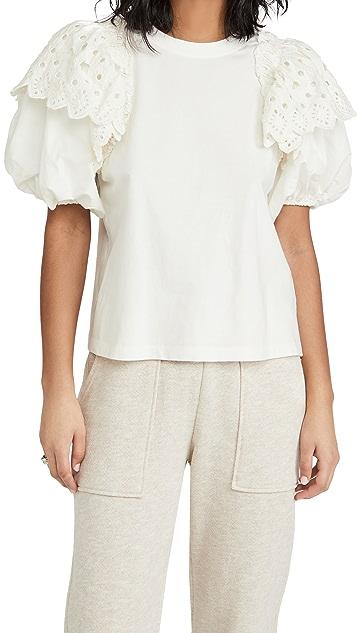 Sea Hazel Eyelet Puff Sleeve T-Shirt