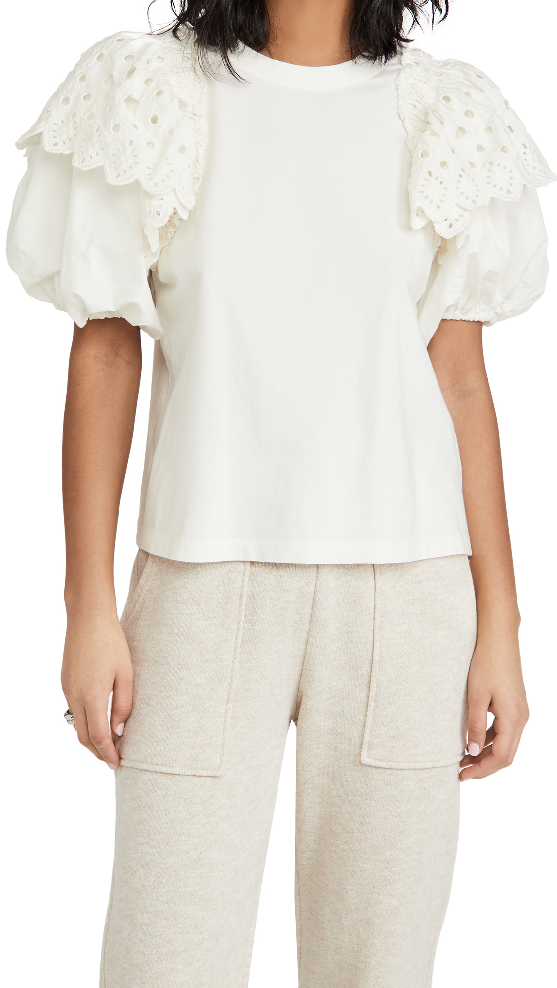 Sea Hazel Eyelet Puff Sleeve T-Shirt