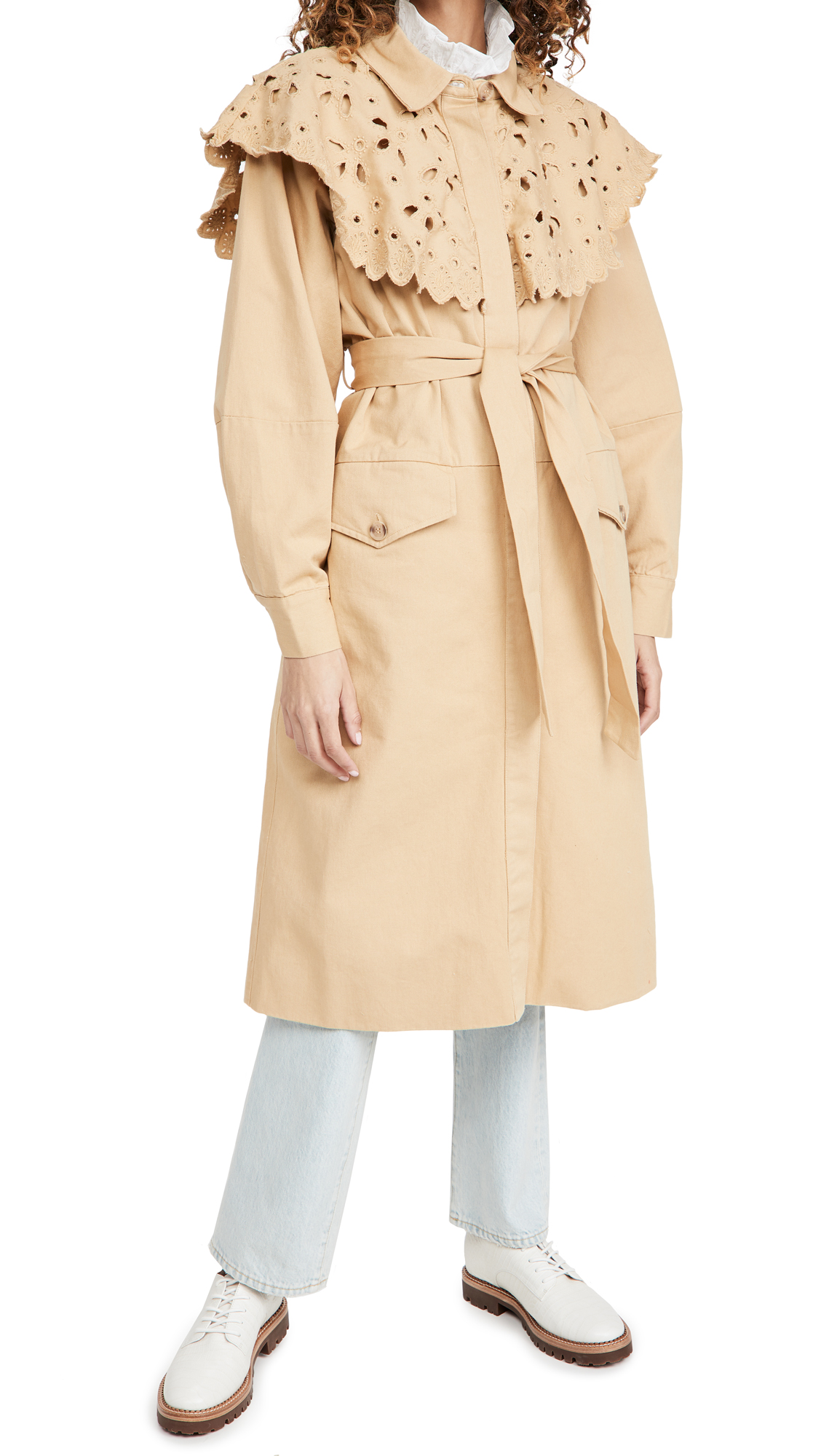 Sea Hazel Eyelet Trench Coat