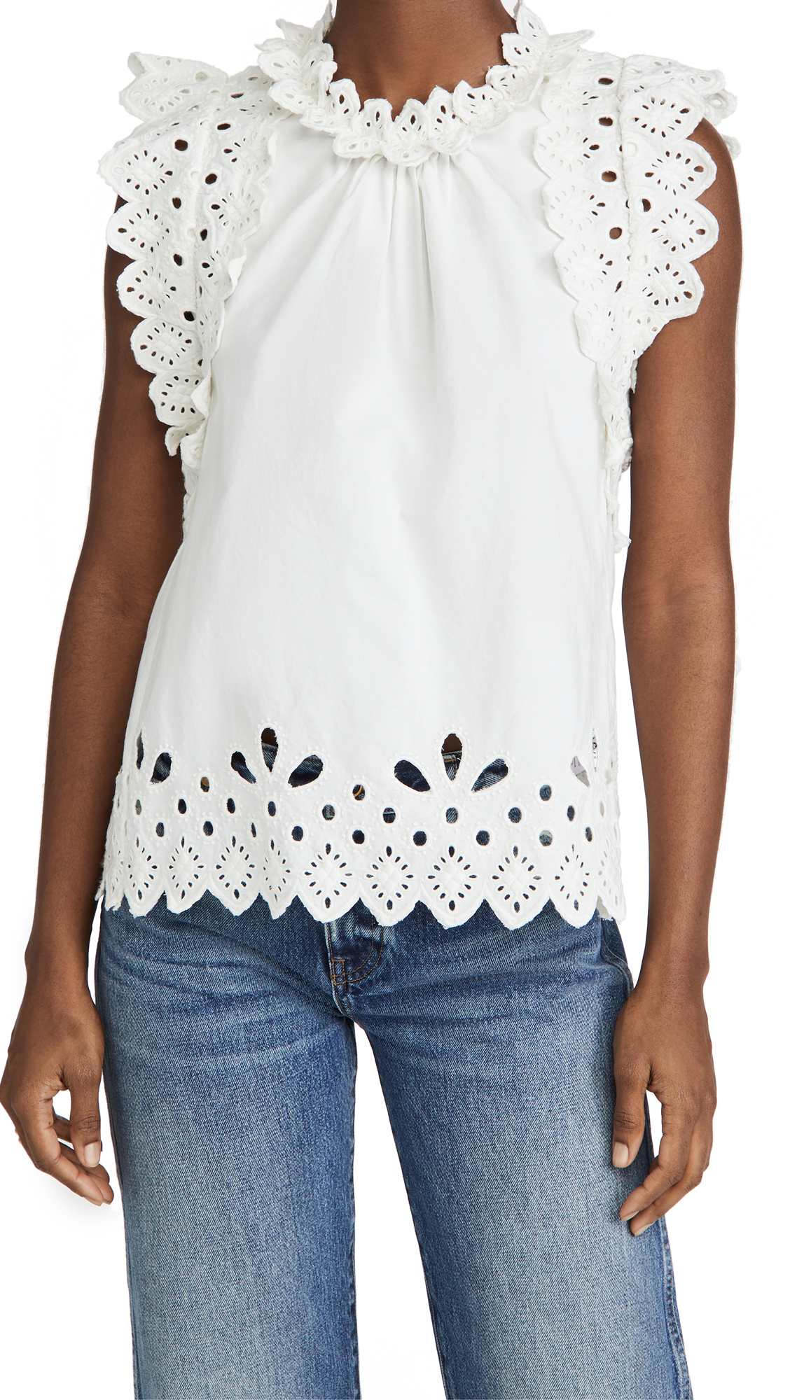 Sea Hazel Eyelet Flutter Sleeve Top