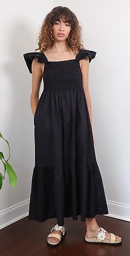 Sea - Varsha 棉质抽褶荷叶边连衣裙