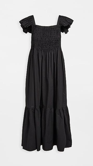 Sea Varsha 棉质抽褶荷叶边连衣裙