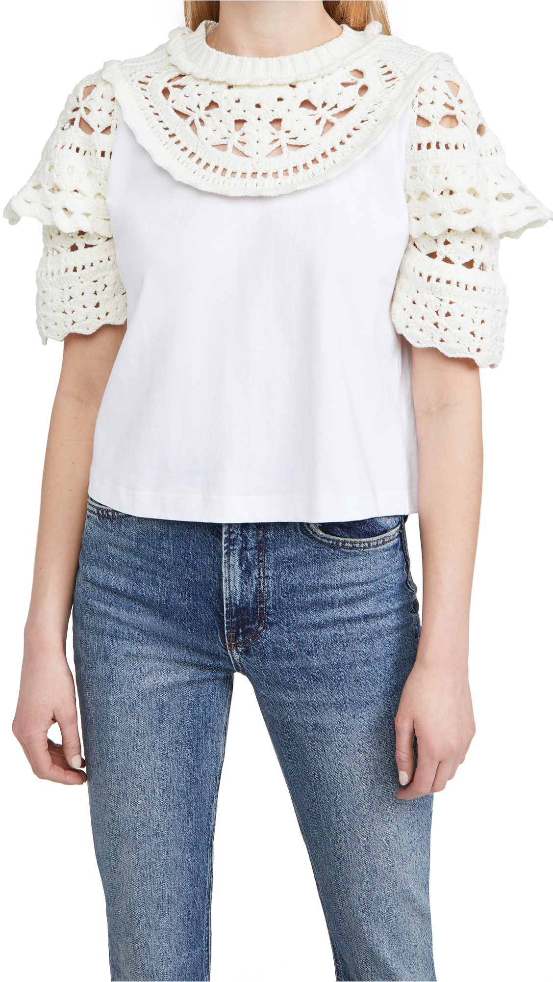 Sea Cleo Crochet Puff Sleeve Combo T-Shirt