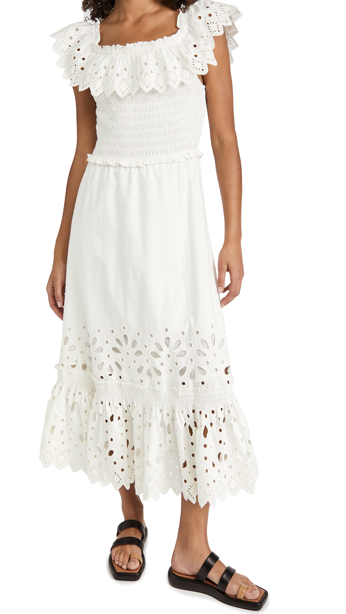 Sea Hazel Eyelet Smocked Ruffle Dress
