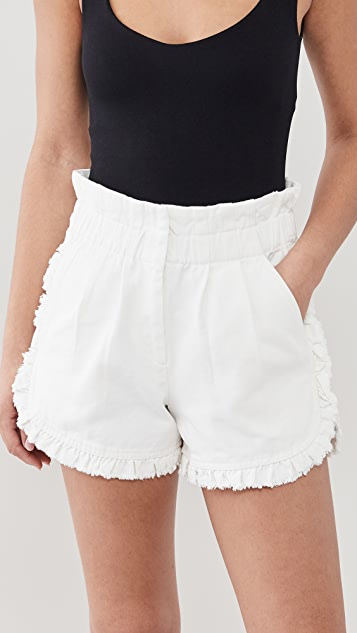 Sea Neon Acid Denim Ruffle Shorts