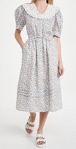 Sea - Bubbie Ditsy Short Sleeve Ruffle Midi Dress