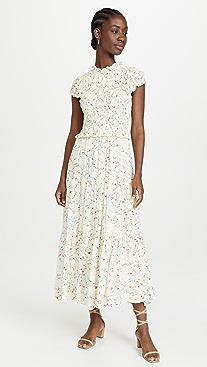 Sea Alison Print Short Sleeve Smocked Dress